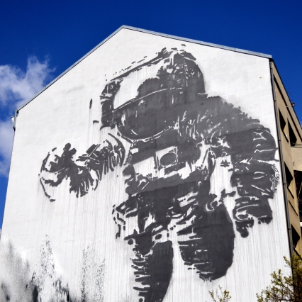 The Cosmonaut by Victor Ash and is considered to be the largest stencil drawing in the world.
